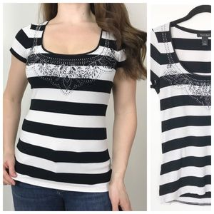 WHBM Black White Beaded Striped Stretchy Top Small